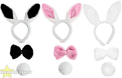 Easter Bunny Rabbit Ears, Tie And Tail Set Adults Childrens Fluffy Fancy Dress