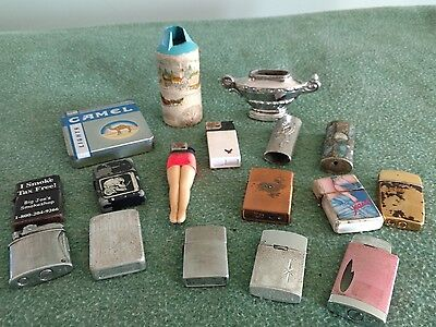 Lot of Vintage cigarette lighters and holders