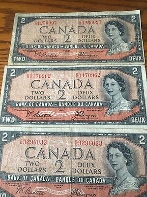 1954 $2 Lot Of 3 Canadian Authentic Devil Face Errors