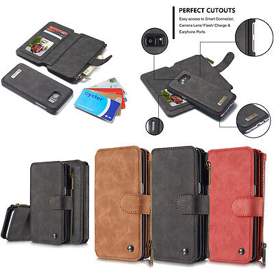 Luxury Genuine Leather Removable Wallet Flip Card Case Cover For Samsung S8 Plus