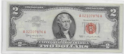 1963 UnCirculated US $2 Two Dollar Bill Red Seal Note  A 02107876 A EXC  CDN