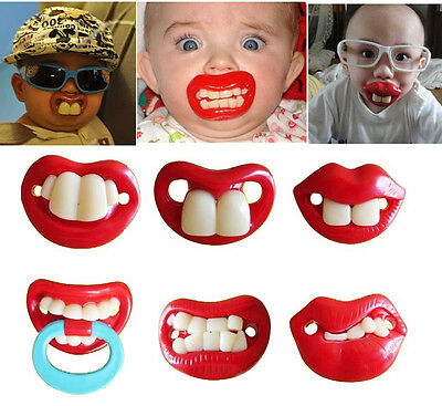 Newborn Baby Boy Girl Infant Funny Dummy Pacifier Teeth Soother Teat Nipple Lips