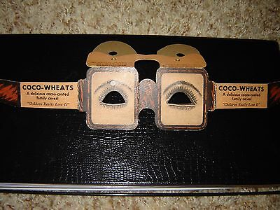 COCO-WHEATS cereal advertisement cardboard glasses vintage