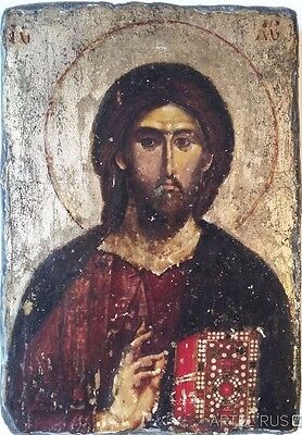 Byzantine Orthodox Icon. Christ Pantocrator. Stylized Antiques.Wood Wall Art
