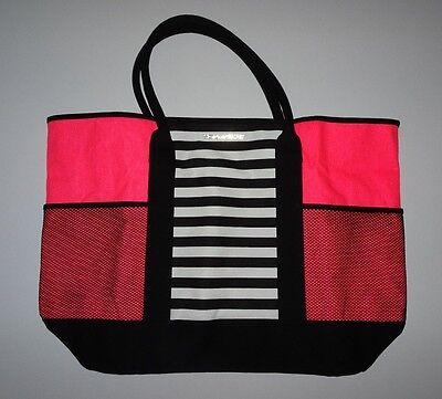 victoria's secret Large Hot Pink Striped Get a way weekend tote bag nwot