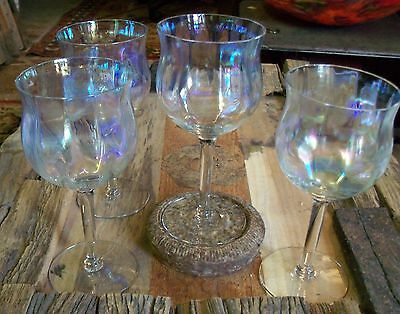 4 ANTIQUE Crystal IRIDESCENT  WINE STEMWARE GOBLETS