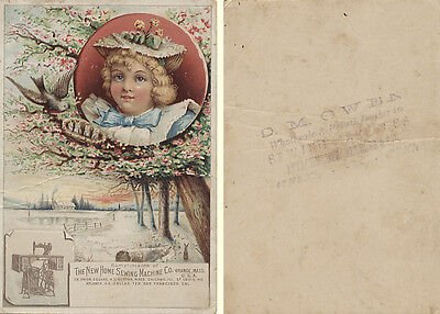 Victorian Trade Card - New Home Sewing Machine Co. - Girl, Bids, Apple Tree