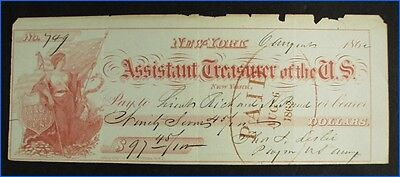 Vintage 1862 Assistant Treasurer Of The U.s. Army Note