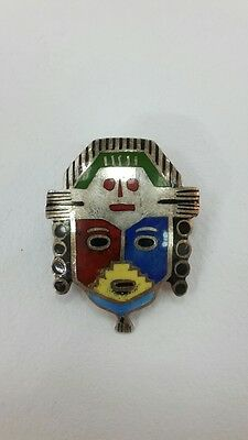 RR Beautiful collectible 925 silver Peru mask-shaped brooch with enamel