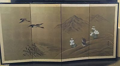 Vintage Japanese 4-panel Byobu Gold leaf Signed Art