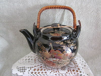 Black Vintage Japanese Teapot Bamboo Handle porcelain Hand Painted Gold Peacoks