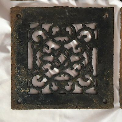 Antique Cast Iron Fireplace Grill Grate 8x8 Wall Ceiling Vent Old Vtg   101-17J