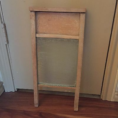 Vintage Victory Wash Board 18 inches Wood and Glass