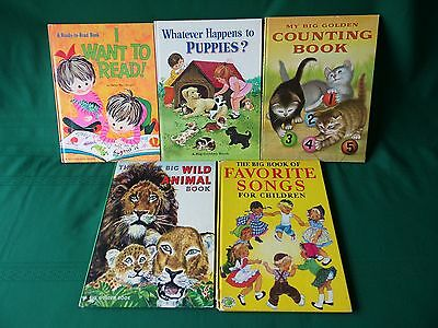 "Lot of 5 Vintage ""The Big Golden Book"",  Copyright 1950 to 1970"