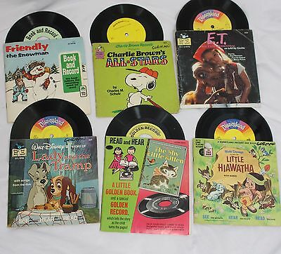 "Lot 6 Walt Disney E.T. Charlie Brown Golden Book 7"" Records See Hear Read"