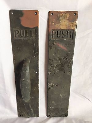 Pair Antique Industrial Brass Store Push Pull Door Handle Vtg Hardware 103-17J