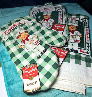 Campbell's ~ Lot Of 3 ~ Kitchen Towel ~ Hot Pad ~ Oven Mitt ~ New ~ Green Check