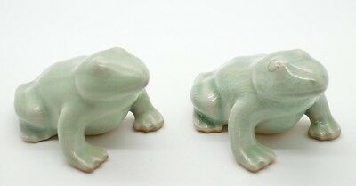 Pair Of Antique Signed Celadon Asian Oriental Frogs Green Glaze Toads