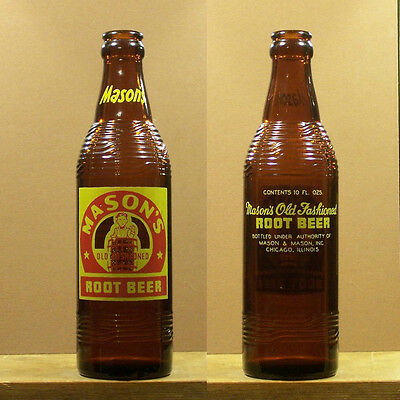 Mason's Root Beer Vintage ACL 10 ounce Amber Soda Bottle Chicago Illinois SB36