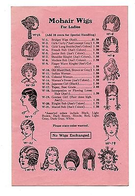 Antique Catalog 1910s Mohair Wigs Theatre Costume Plays Make-Up Willis N Bugbee