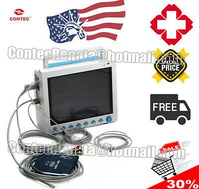 FDA CMS8000 Patient Monitor,ECG+NIBP+SPO2+Resp+PR+TEMP USA warehouse delivery
