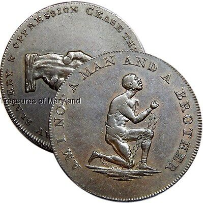 "Kneeling Slave 1790's ""AM I NOT A MAN AND A BROTHER"" Slavery Halfpenny! sku #CL1"