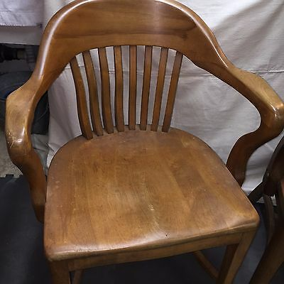 Antique Vintage Lawyers Banker Library Wood Desk Arm Chair Gunlocke/Sikes style