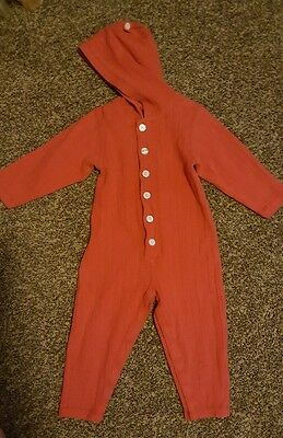 hanna andersson 90 unisex hooded outfit red