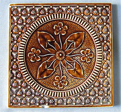 Antique English Tile Eastlake Aesthetic Arts & Crafts Majolica Copeland Pottery