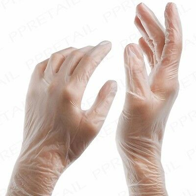 MEDIUM Clear Disposable Gloves EXTRA STRONG Powder-Free Multi Purpose Cleaning