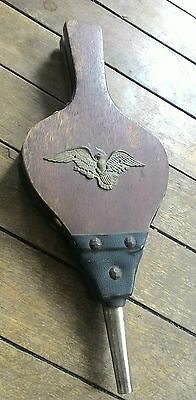Vintage Hand Blower Fireplace Bellows Brass - Wood -  Leather Eagle Crested