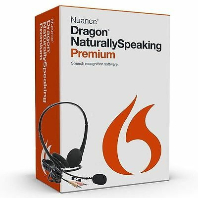 NUANCE Dragon Naturally Speaking Premium 13 Version 13.0 w/Headset & Mic ✔NEW✔