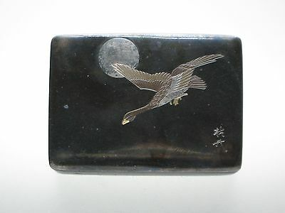 Sm Japanese Shakudo Mixed-Metals Silver Bronze Snuff Box Moon