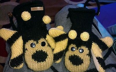DELUX Bumble Bee Animal Mittens Gloves WOOL Fleece Lining Boy/Girl Size M/L