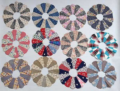 12 Vintage Old Hand Stitched Dresden Plate Quilt Pieces