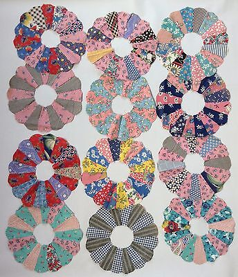 12 Vintage Hand Stitched Dresden Plate Old Quilt Pieces