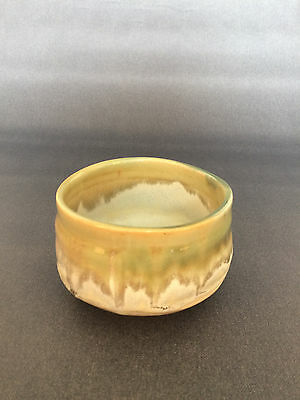 Japanese Tea Ceremony Tea Bowl with Green and White Glaze