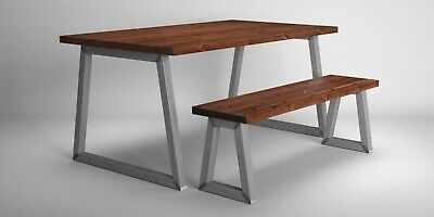 Industrial Vintage Rustic Dining Kitchen Table Bench Set. Solid Wood Steel.