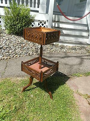 Sweet Hard To Find Tramp Art Sewing Stand Great Decor Piece!