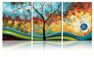 3 Panels Wall framed canvas Print Home Decor Modern Abstract Landscape Tree