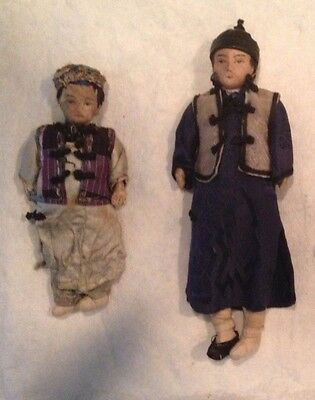 Antique Vintage Handmade 1920's ASIAN CLOTH DOLLS Girl Boy Hand Embroidered