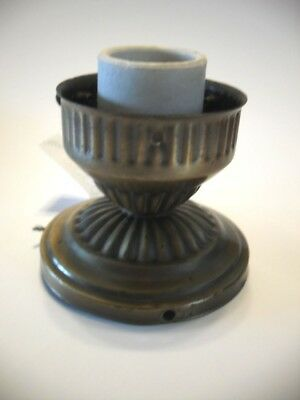 VINTAGE Antique Brass Plated Steel Small Ceiling Light Fixture Ceramic Socket