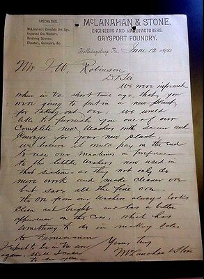 "LOOK! 1890 Advertising Letter Head ""McLANAHAN & STONE"" Ore Mfg- Hollidaysburg,PA"