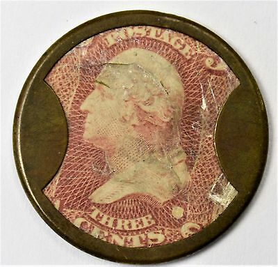 1862 - AYERS SARSAPARILLA TO PURIFY THE BLOOD - 3 Cent - Encased Stamp Token