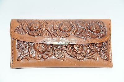 Vintage Made in MEXICO Brown Leather Floral South Western Long Wallet!