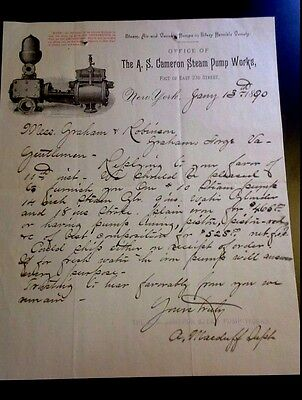 "LOOK! 1890 Advertising Letter Head ""The A.S. Cameron Steam Pump Works"" #2     NY"