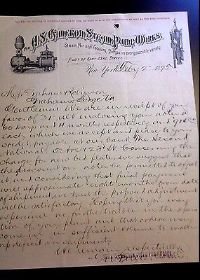 "LOOK! 1895 Advertising Letter Head ""The A.S. CAMERON STEAM PUMP WORKS""  NY"