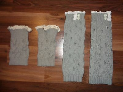 Womens Lace Trim Leg Warmers Cuffs Crochet Knit Gray Toppers Boot Socks Set of 2