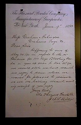 "LOOK! 1890 Advertising Letter Head ""The Hazard Powder Company"" #2    New York"