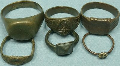 Lot Of 6 Ancient Bronze Rings